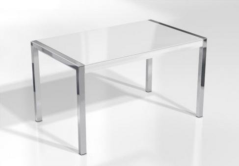 Mesa concept minor encimera cristal extra blanco brillo pata ...