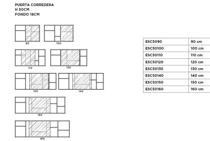 ESTANTERIA SOMA PUERTA CORREDERA DE 140X50X18CM