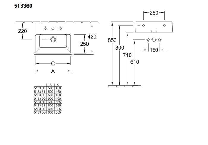 51336001 Memento Lavabo 600 X 420 Mm Para Montaje Con Muebles  # Muebles Memento